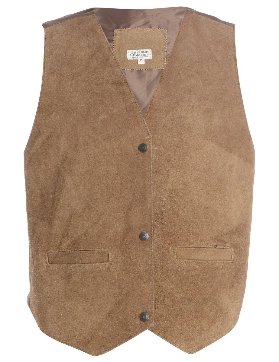 1990s Leather Waistcoat - M