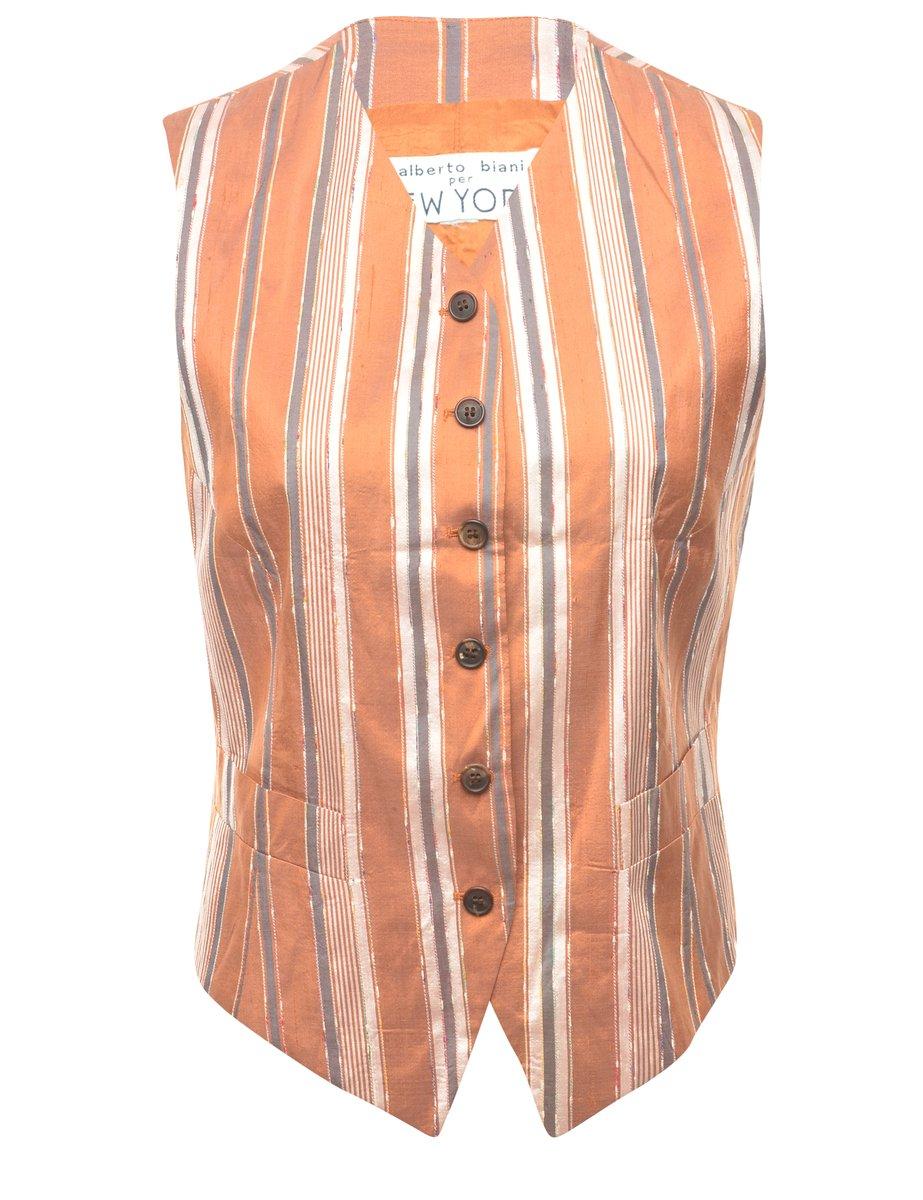 1990s Striped Waistcoat - M