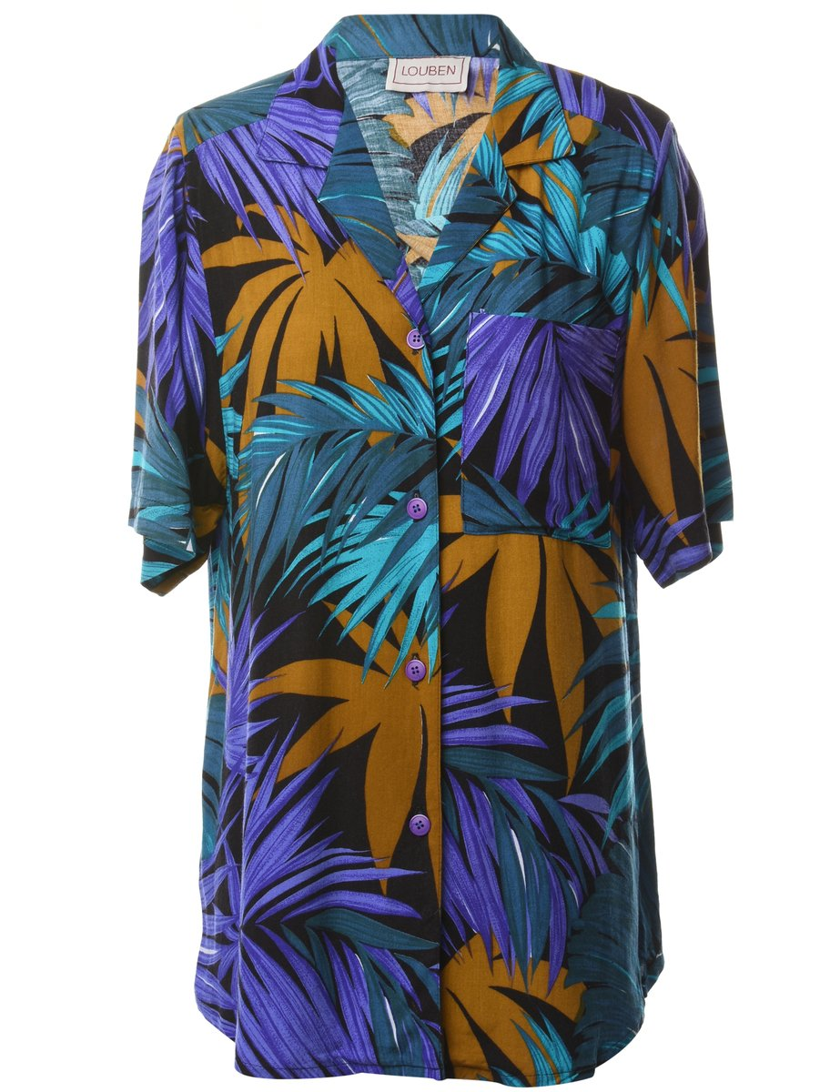 1990s Foliage Hawaiian Shirt - M