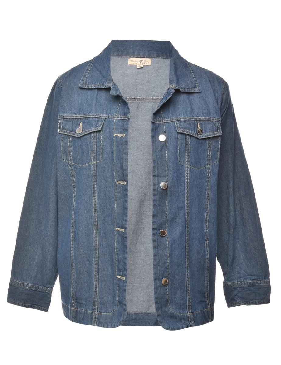 1990s Button Front Denim Jacket - L