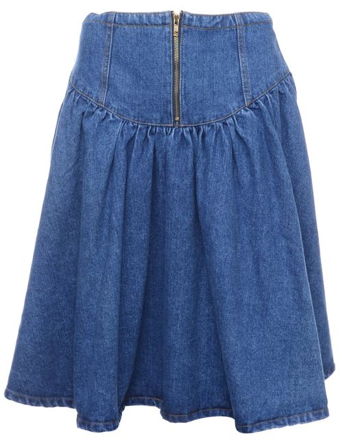 1990s Denim Indigo Midi Skirt - M