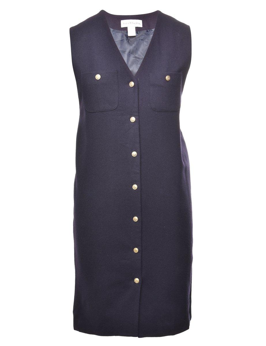 100% Wool Pinafore Dress - L