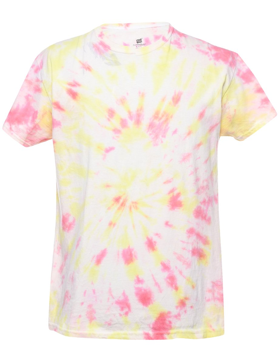 2000s Tie Dyed Printed T-shirt - L