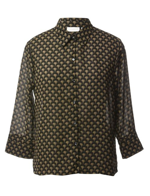 1990s Black Printed Blouse - M