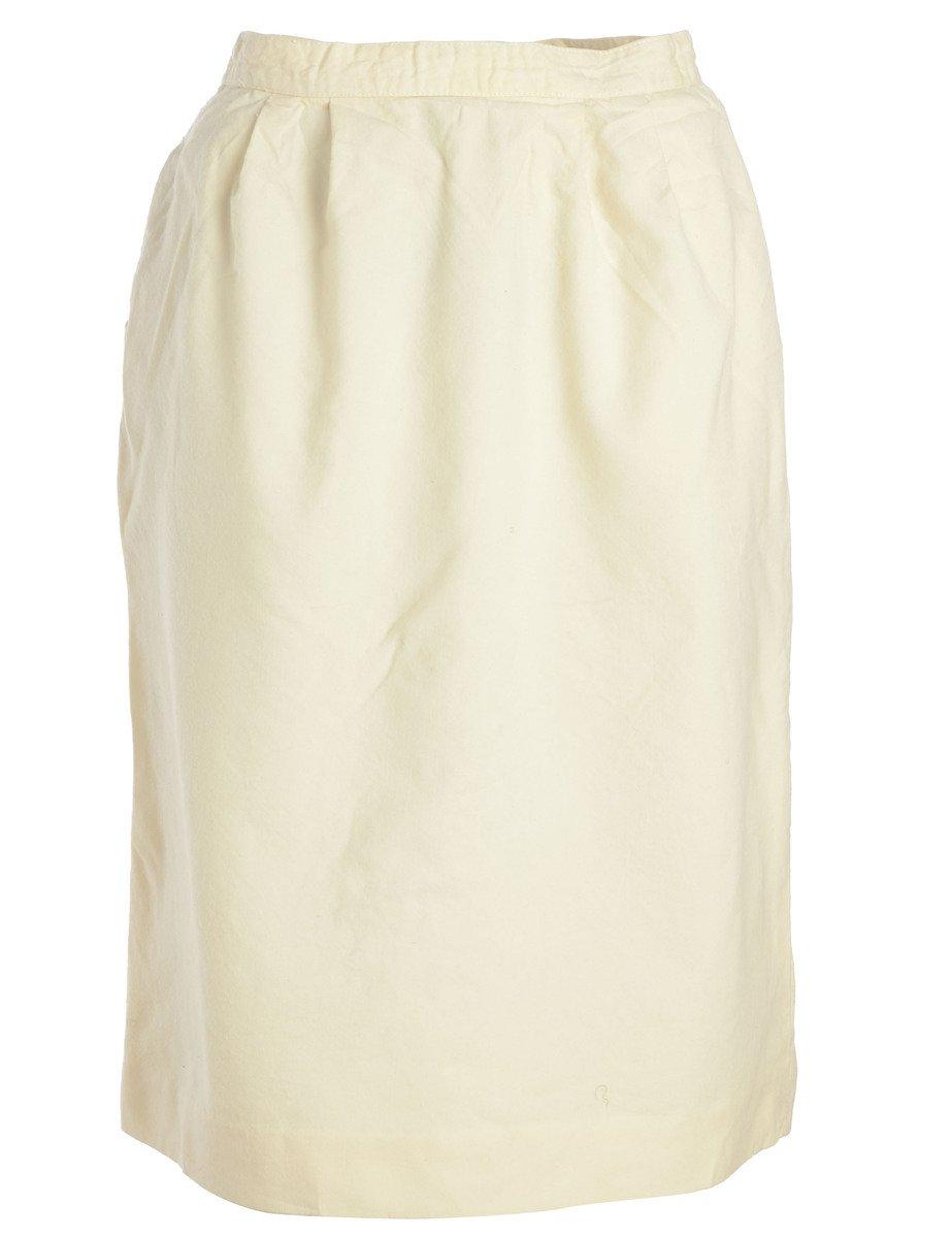 1980s Pale Yellow Skirt - M