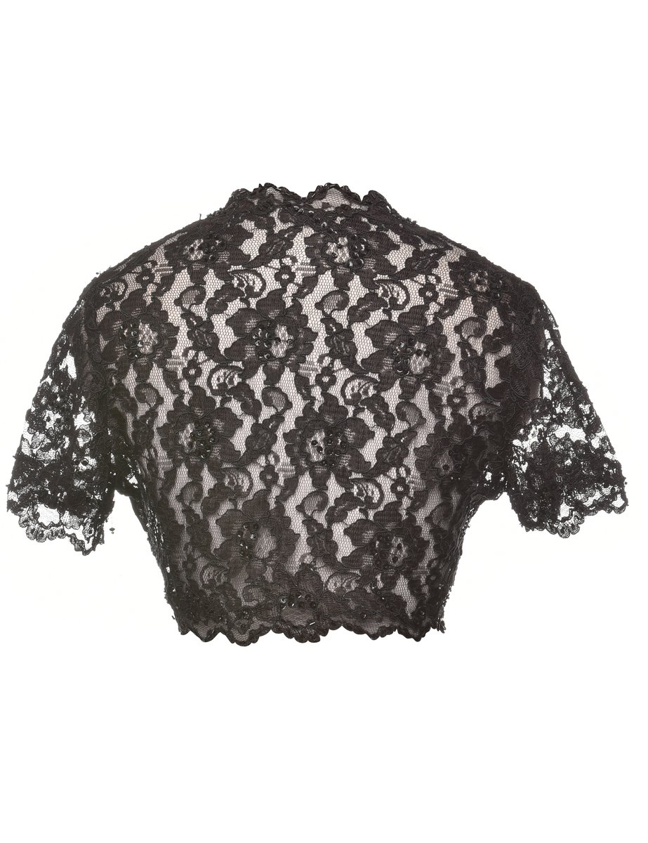 1990s Floral Lace Evening Jacket - S