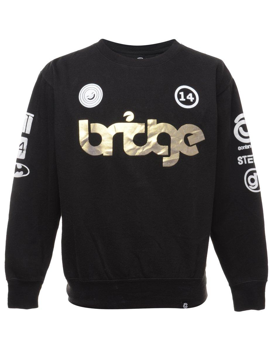 Beyond Retro 2000s Black Printed Sweatshirt - M