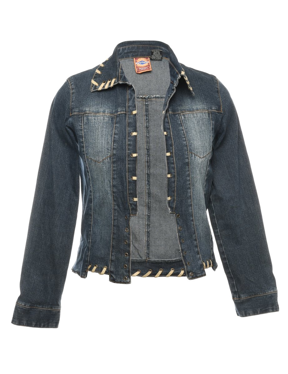 2000s Black Denim Jacket - M