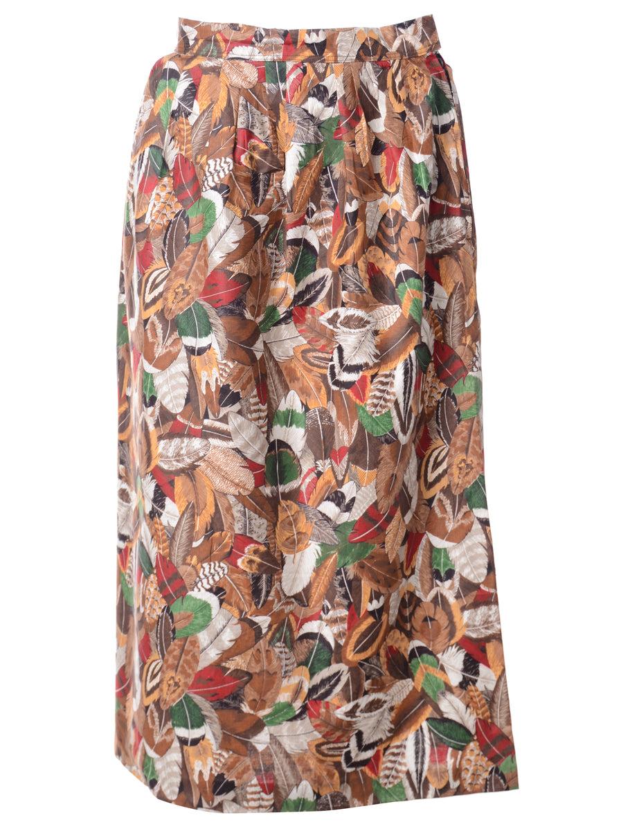 1990s Leafy Print A-line Skirt - S