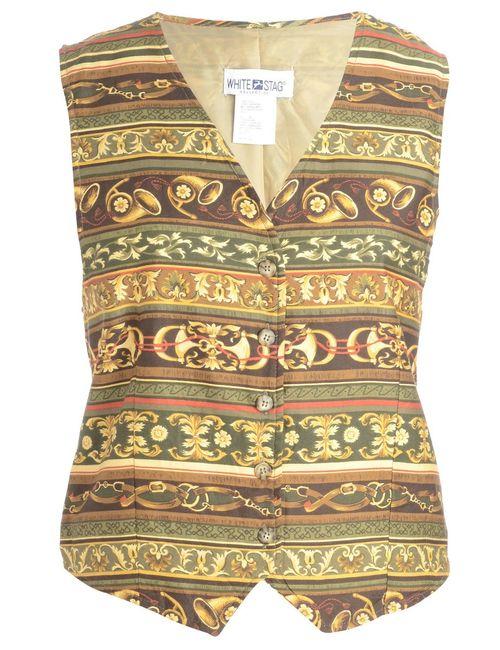 1990s Floral Pattern Waistcoat - L