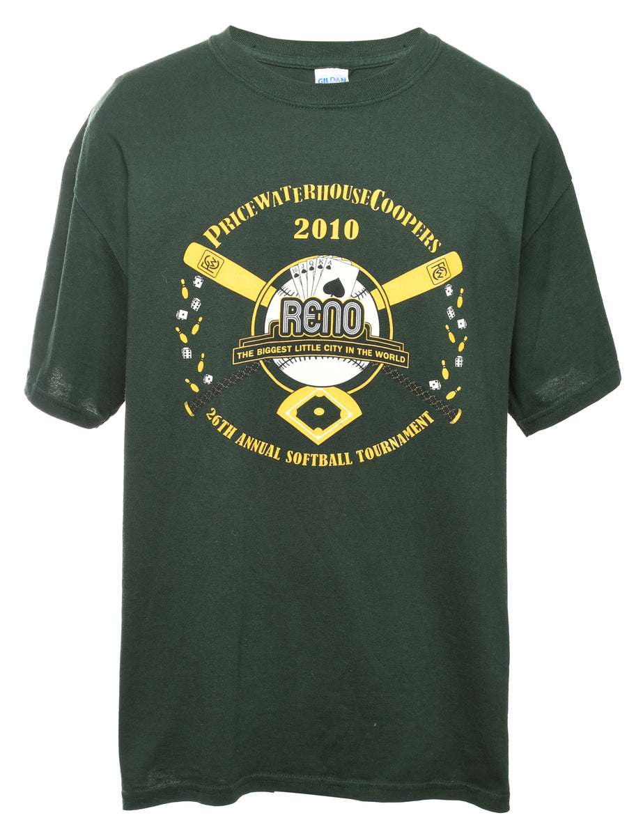 2000s Dark Green Printed T-shirt - L
