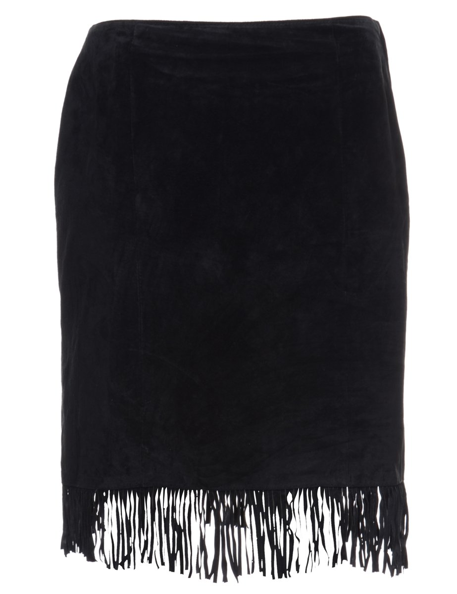 1990s Fringed Suede Skirt - S