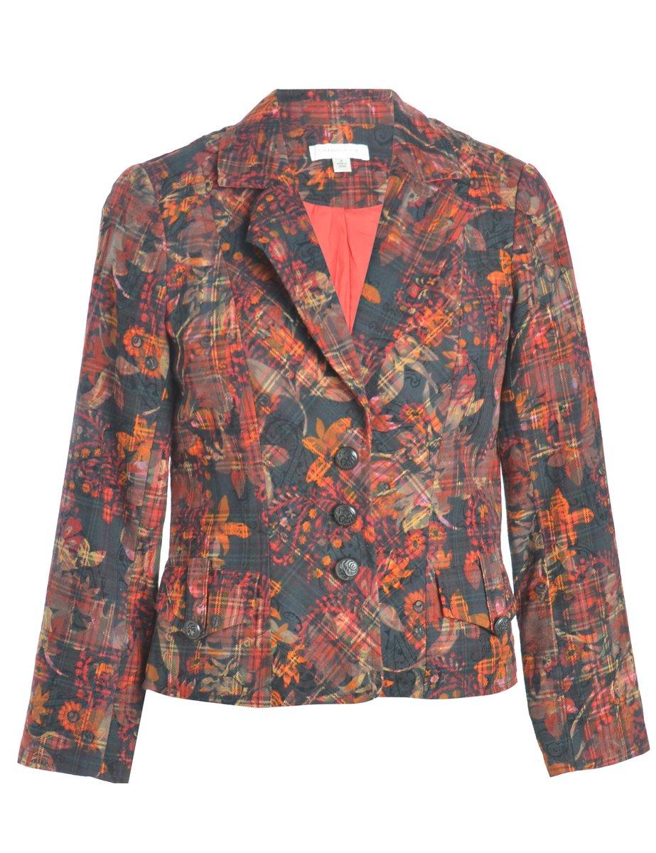 1990s Floral Pattern Blazer - M