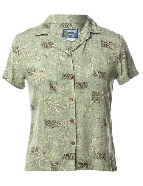 Beyond Retro 1980s Light Green Hawaiian Shirt - M