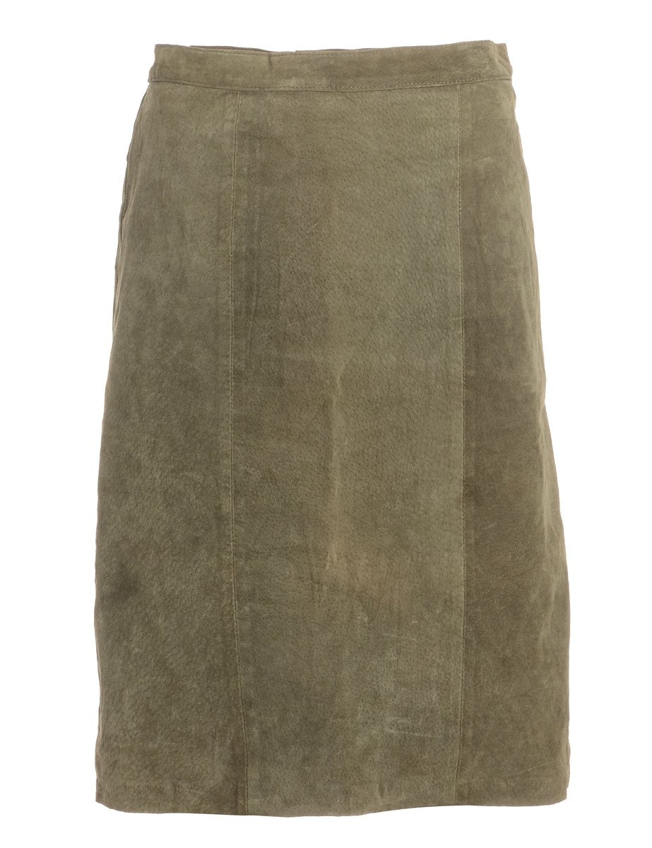 1990s A-Line Suede Skirt - L