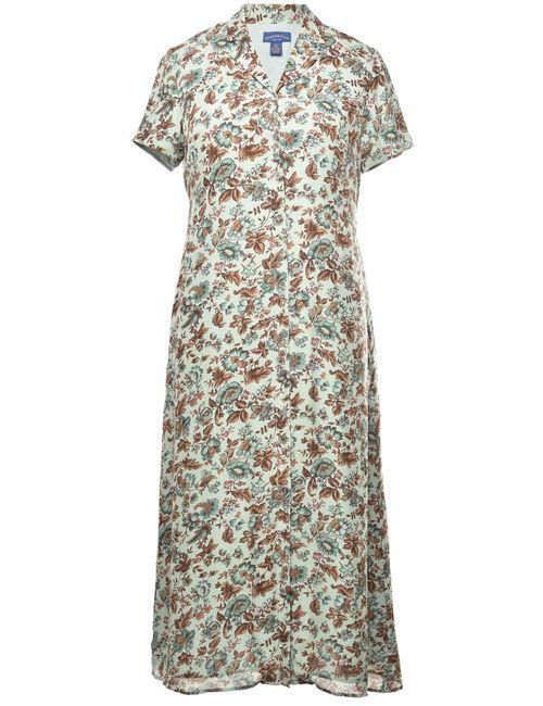 100% Silk Floral Pattern Dress - M