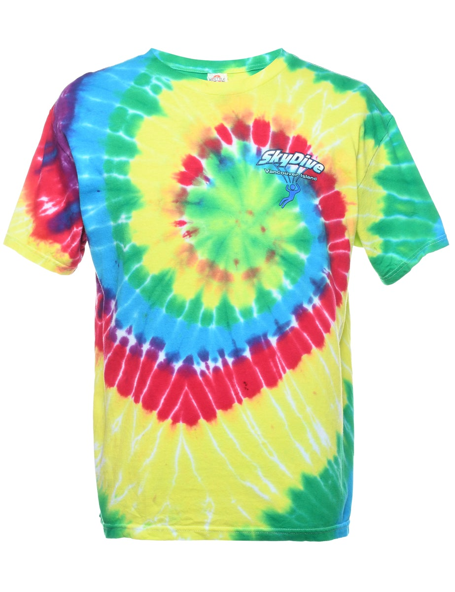 2000s Tie Dyed Skydive Vancouver Island Printed T-shirt - L
