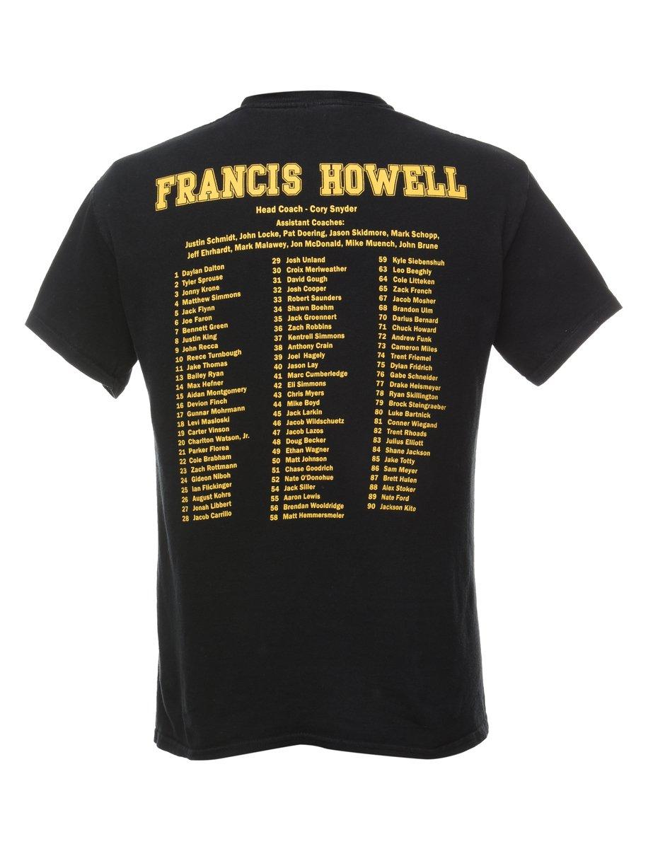 Beyond Retro 1990s Howel Viking Blue Gold Sports T-shirt - M