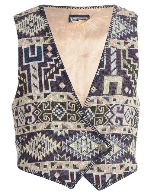 1990s Geometric Pattern Waistcoat - L