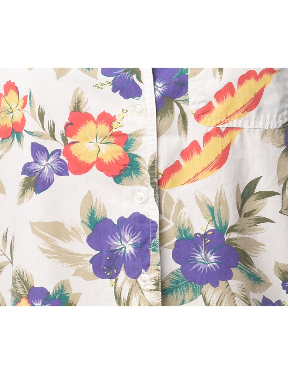 1990s Floral Hawaiian Shirt - M