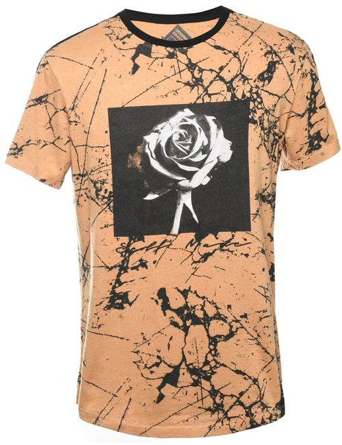 2000s Tie Dyed Rose Printed T-shirt - M