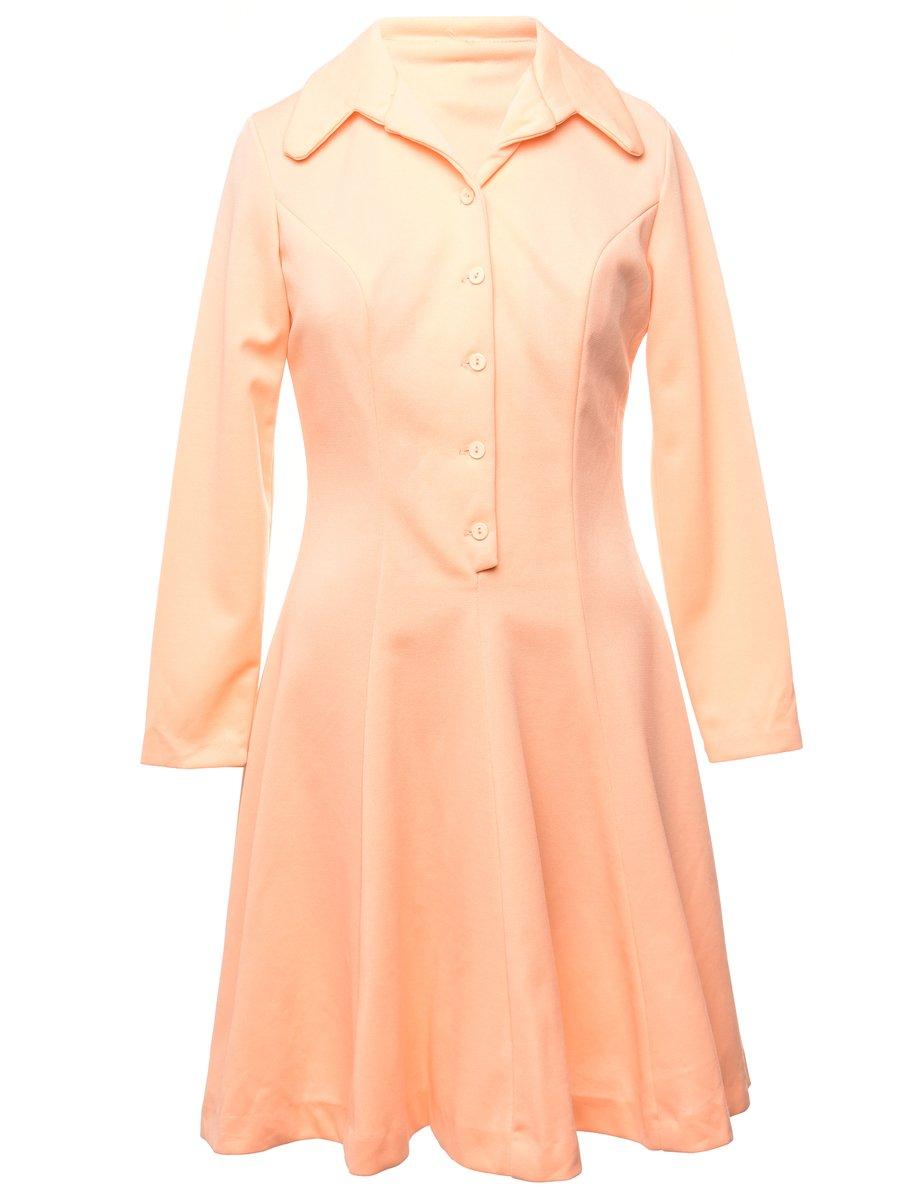 1970s Pastel Peach Winter Dress - M
