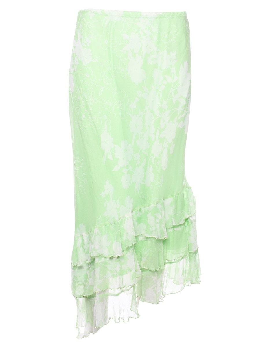 100% Silk Full Skirt - L