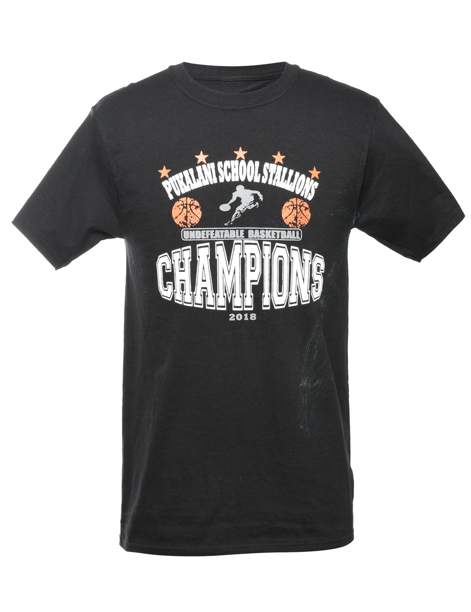 2000s Black Printed T-shirt - S
