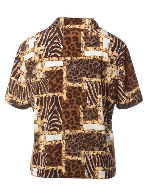 1990s Animal Print Shirt - L