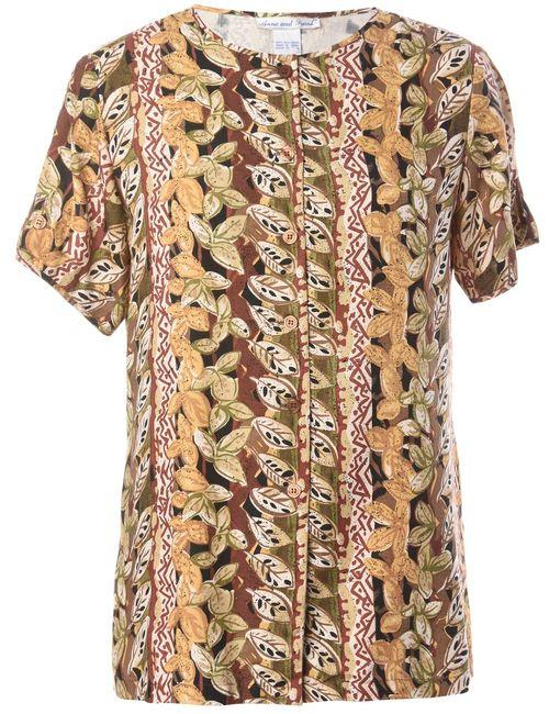 Beyond Retro 1980s Foliage Silk Blouse - M