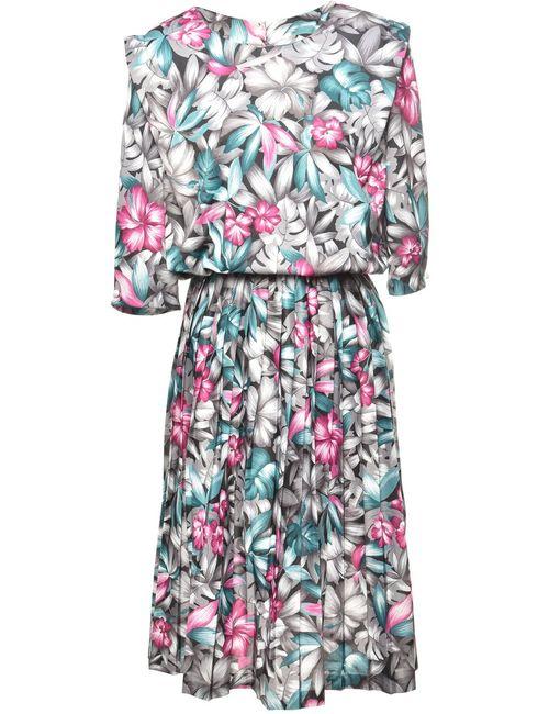 1980s Floral Print Dress - XL