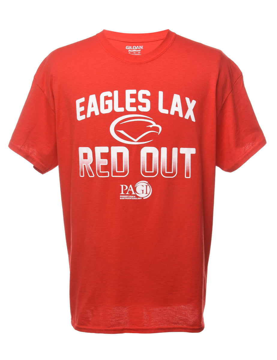 1990s Eagle Lax Red Out Sports T-shirt - XL