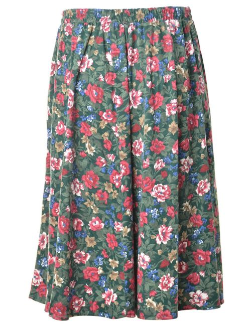 1990s Floral Pattern Skirt - M