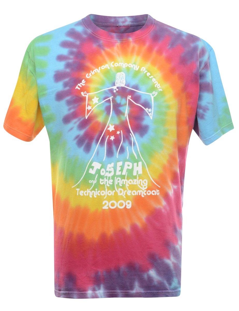 2000s Tie Dyed Joseph Printed T-shirt - L