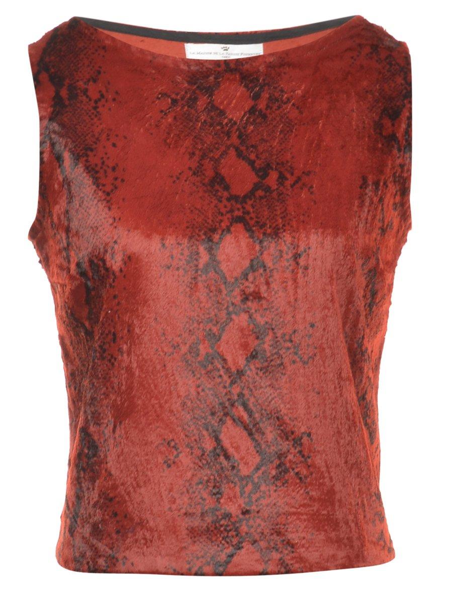 2000s Snake Skin Printed Red Vest - M
