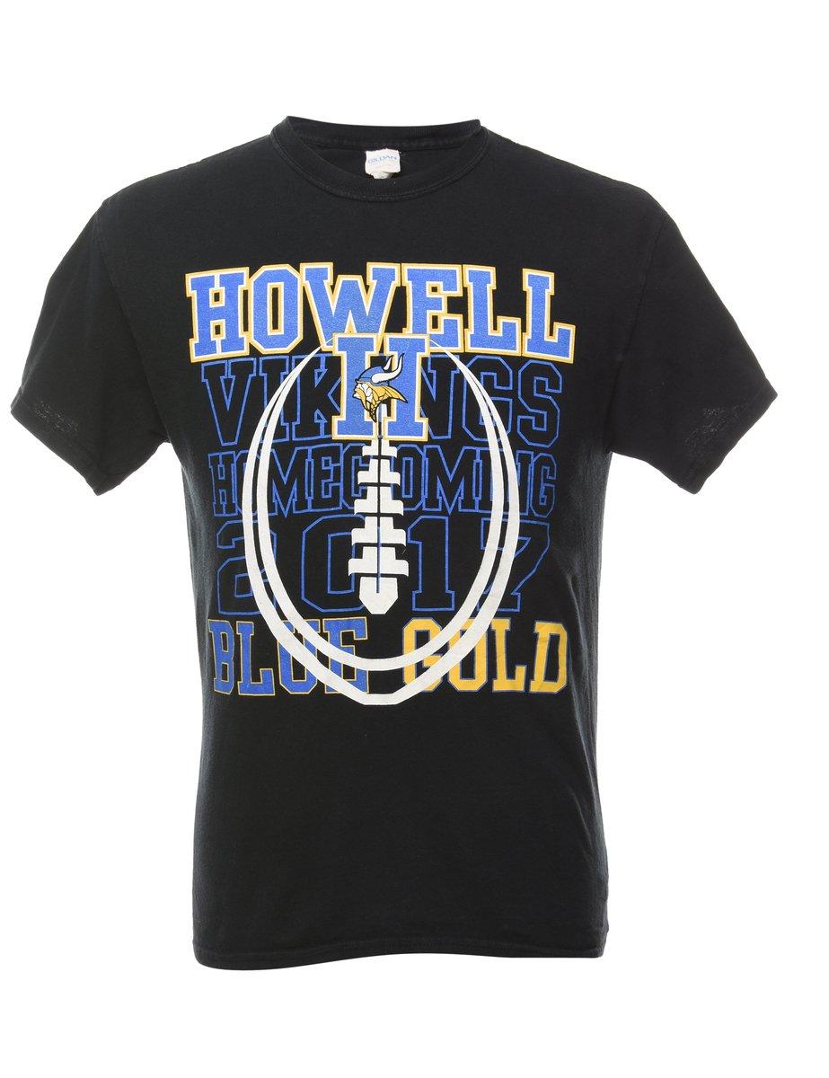 1990s Howel Viking Blue Gold Sports T-shirt - M