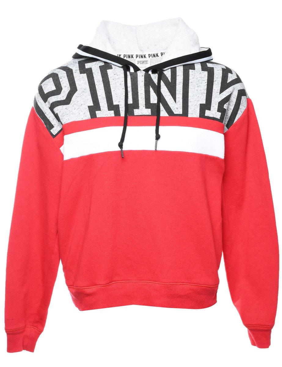 2000s Pink Printed Hoodie - L