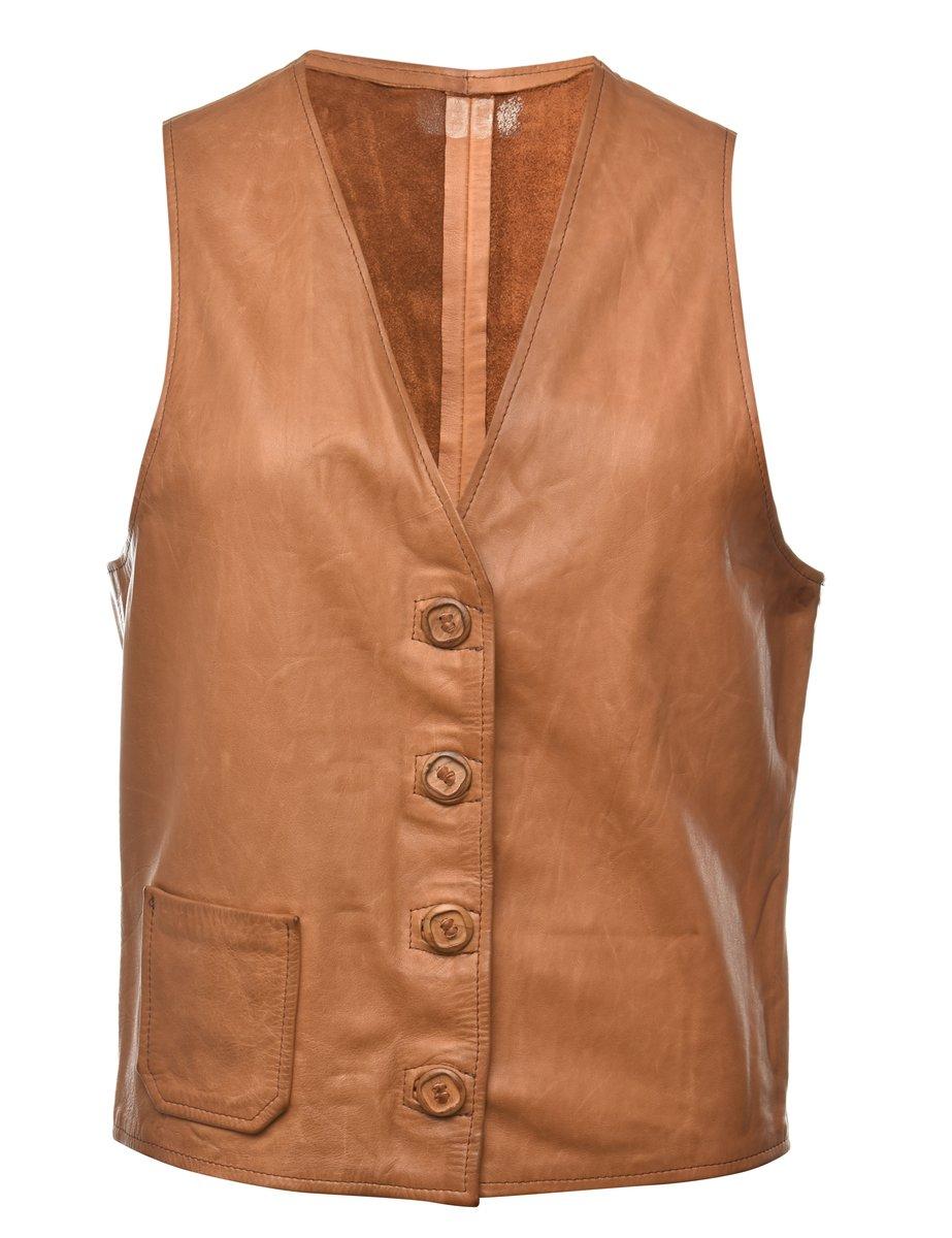 1980s Leather Waistcoat - M