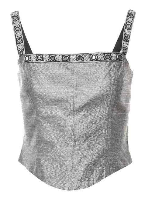2000s Lurex Thread Pattern Vest - M
