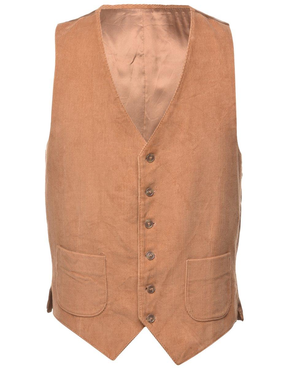 1990s Corduroy Front Waistcoat - L