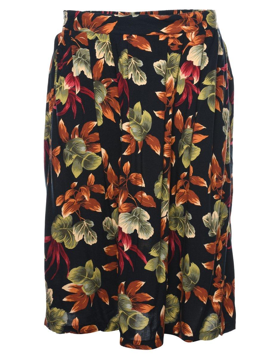 2000s Leafy Print Skirt - M