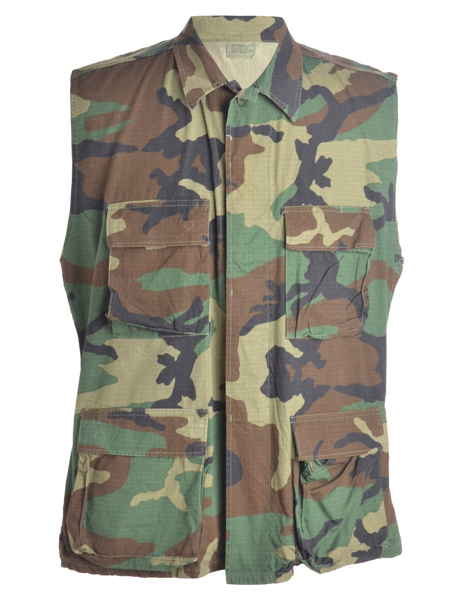 1990s Camouflage Waistcoat - L