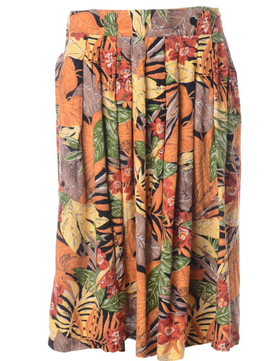 1990s Leafy Print Skirt - M