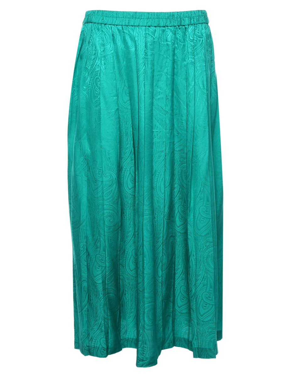 100% Silk Pleated Skirt - M