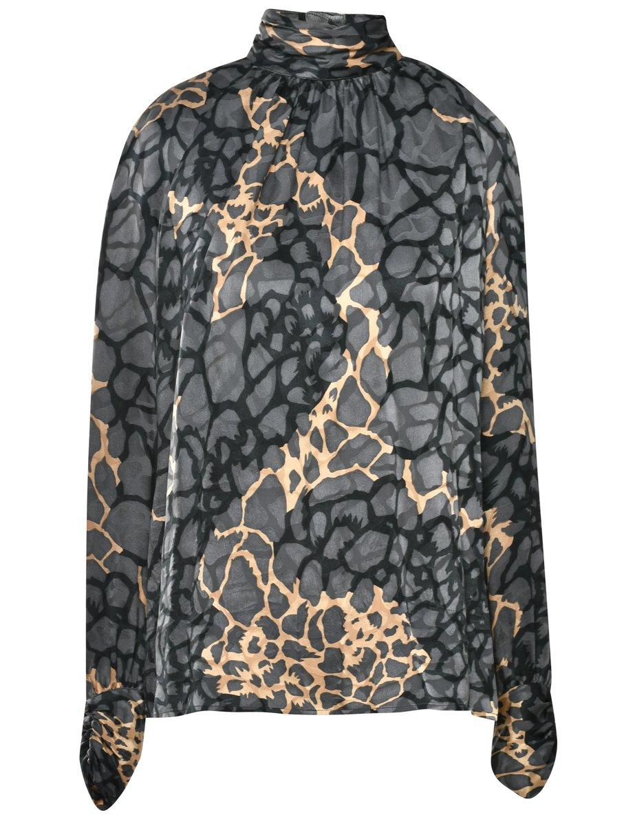 100% Silk Patterned Blouse - L