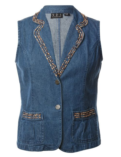 1990s Beaded Denim Jacket - M