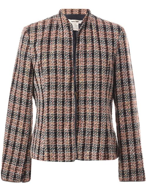 1980s Checked Pattern Jacket - M