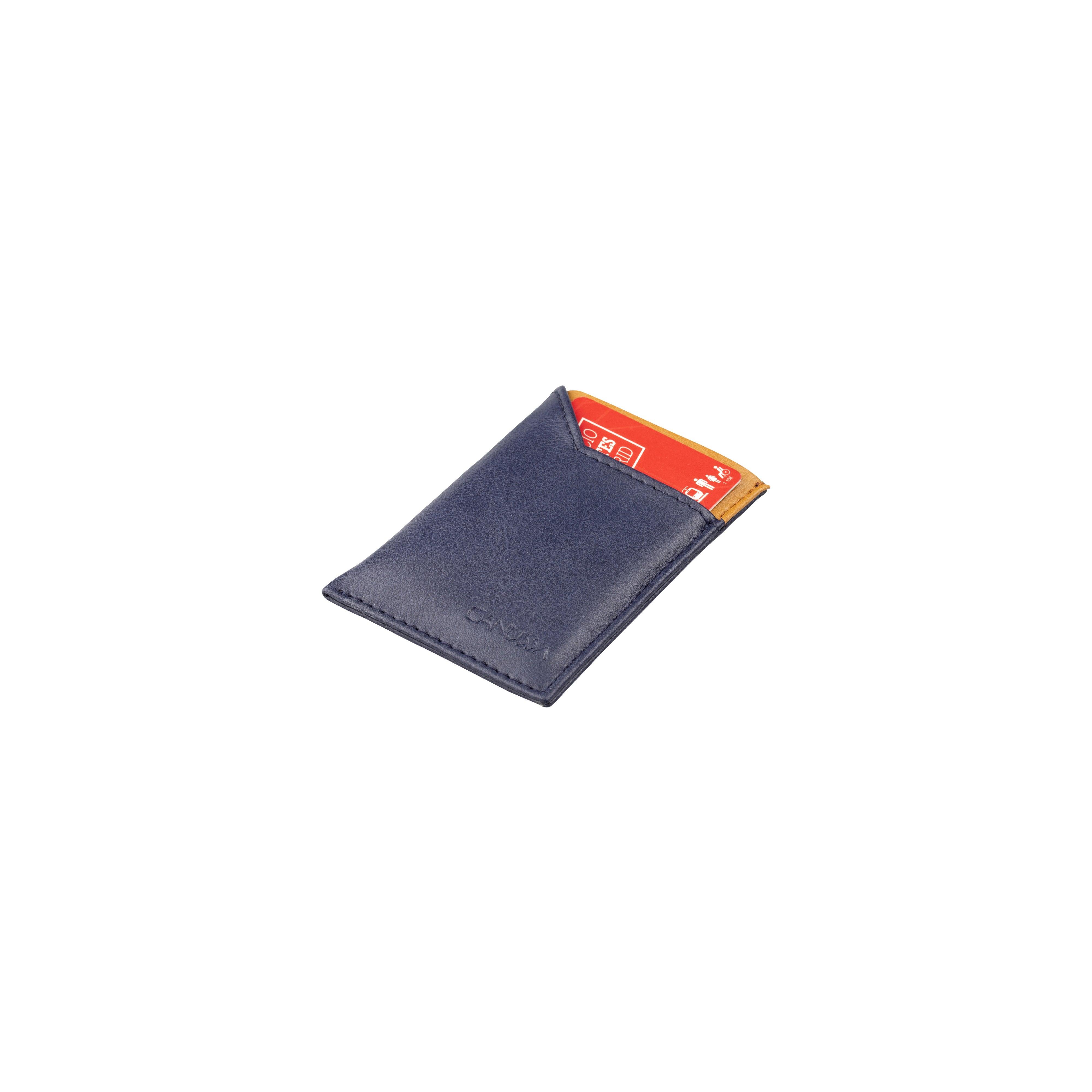 Slim Vegan Card holder - Blue/Camel