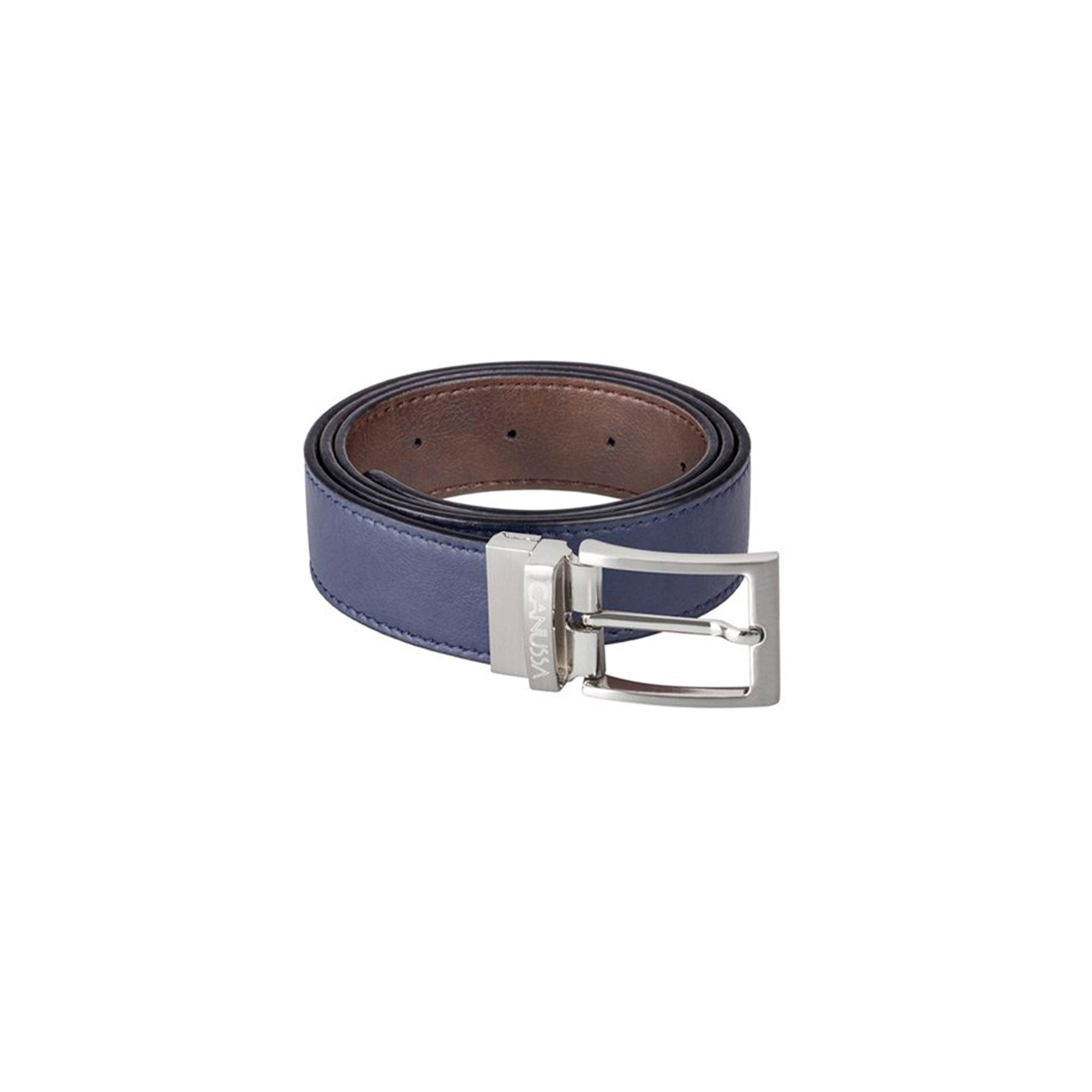 Reverse Vegan Belt – Reversible Blue/Brown