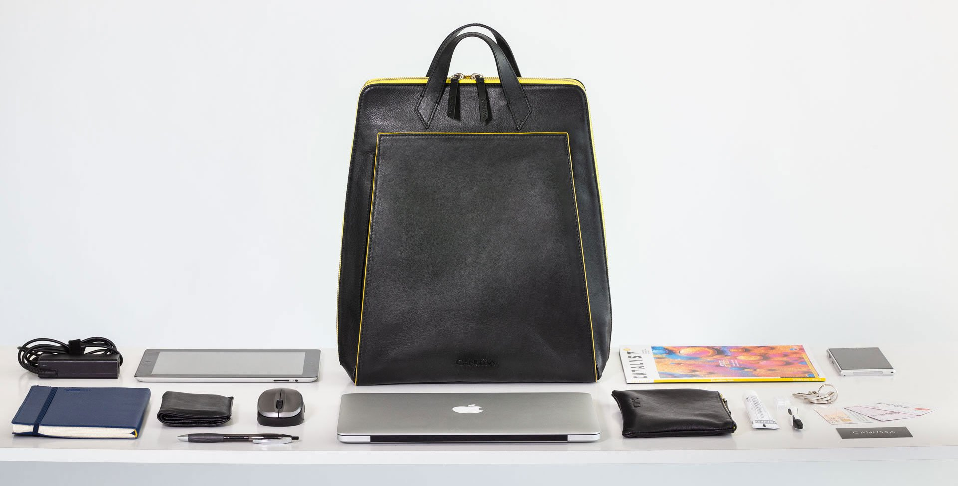 Canussa Urban Backpack Black/Yellow - Vegan Laptop Backpack